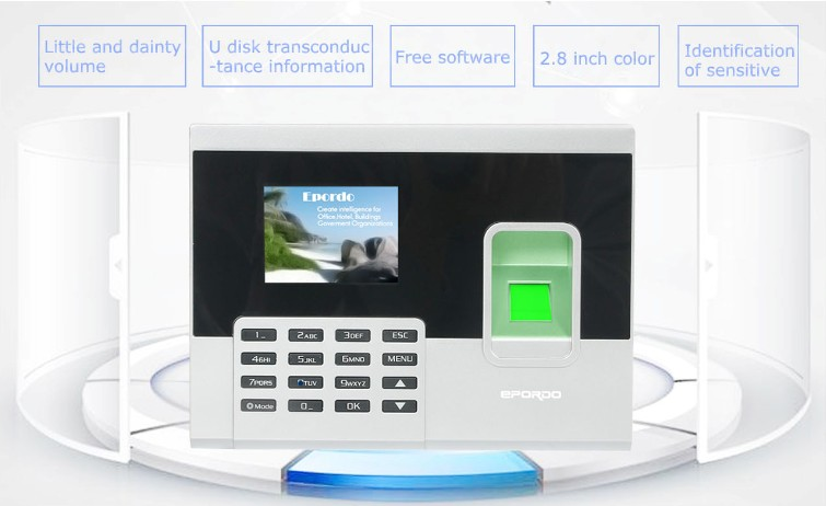 Attendance managerment system with 2.8 inch color for time tracking